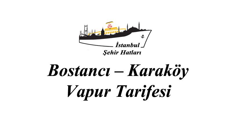 Bostancı – Karaköy – Kabataş vapur tarifesi
